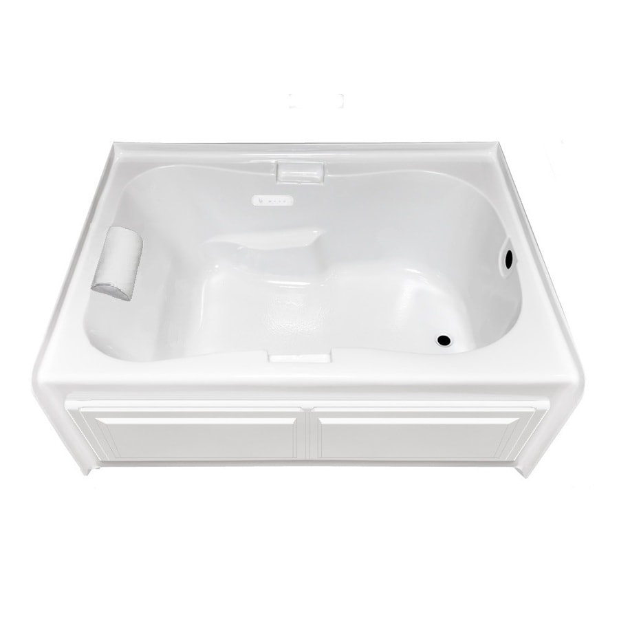 Laurel Mountain Hourglass II Plus 71.75-in White Acrylic Skirted Air Bath with Right-Hand Drain
