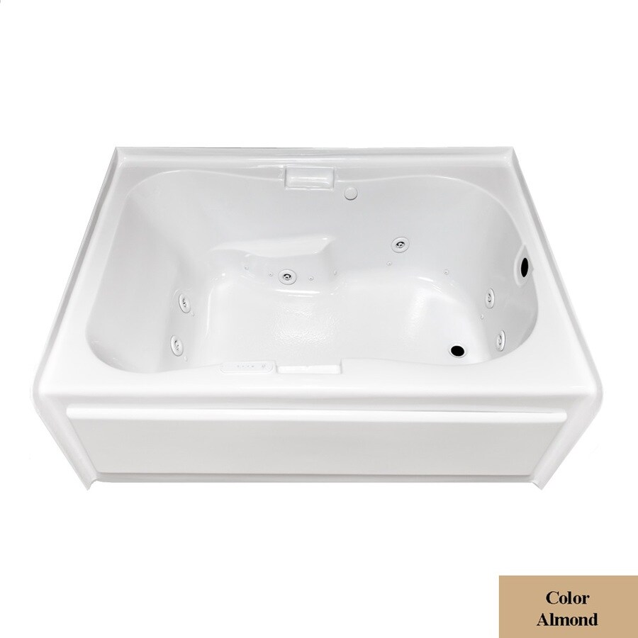 Laurel Mountain Hourglass II Plus 72-in L x 42-in W x 21.5-in H Almond Acrylic Hourglass In Rectangle Whirlpool Tub and Air Bath