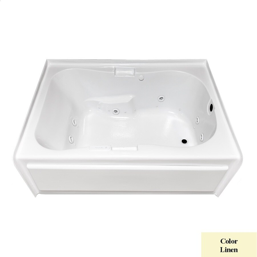 Laurel Mountain Hourglass II Plus 72-in L x 42-in W x 21.5-in H Linen Acrylic Hourglass In Rectangle Whirlpool Tub and Air Bath