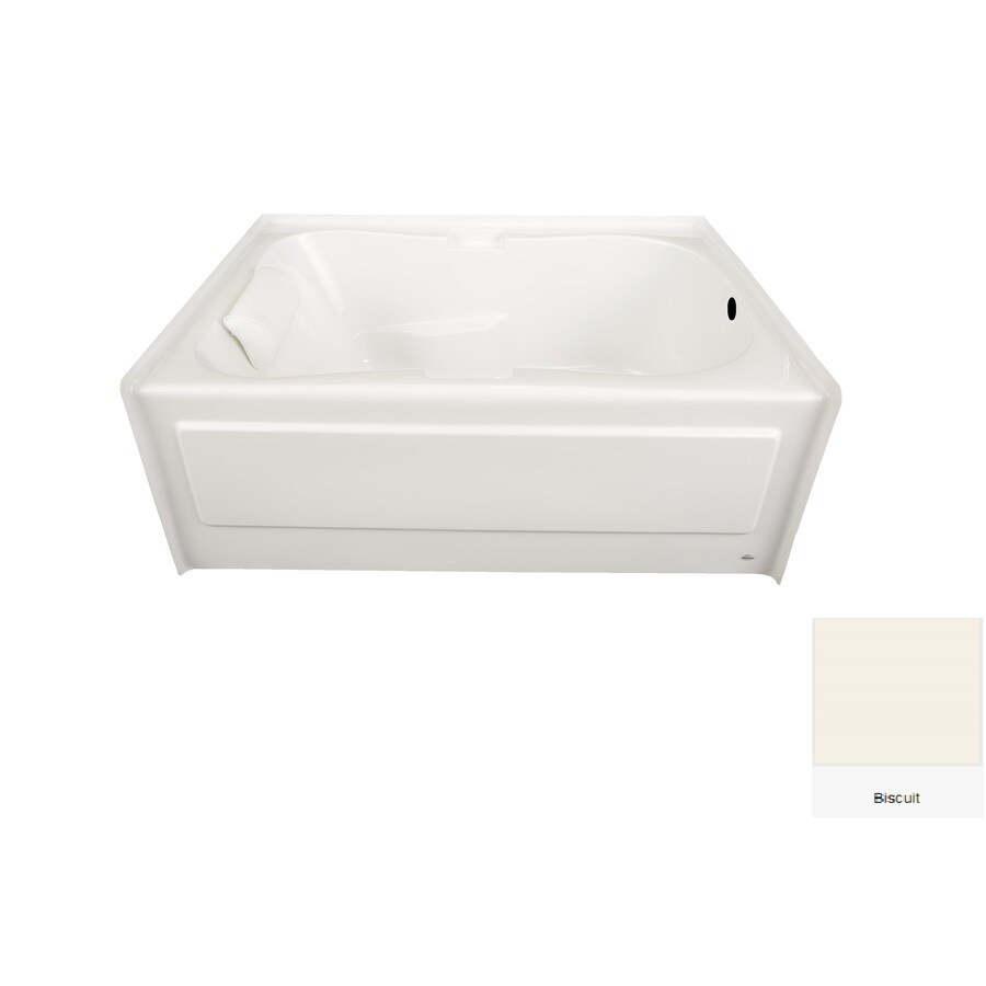 Laurel Mountain Hourglass II Plus 71.75-in Biscuit Acrylic Alcove Bathtub with Right-Hand Drain