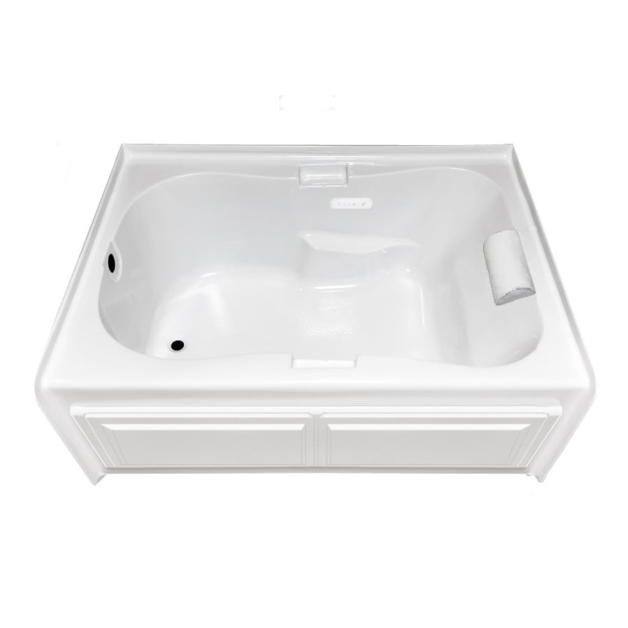 Laurel Mountain Hourglass II Plus 71.75-in White Acrylic Skirted Air Bath with Left-Hand Drain