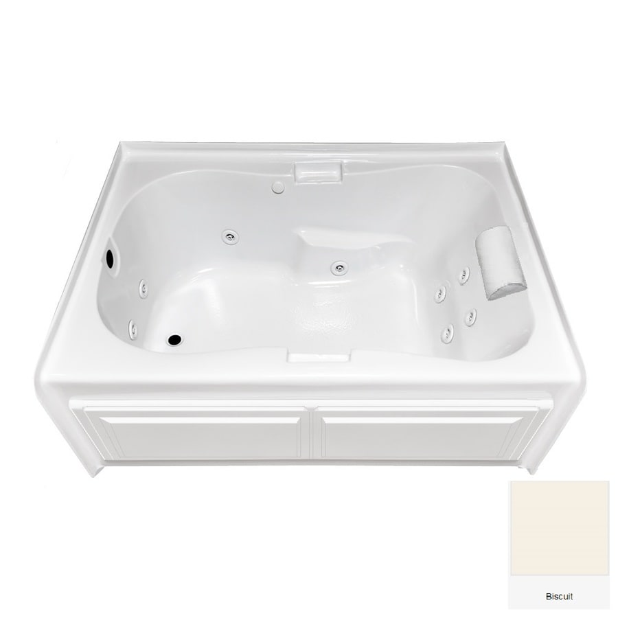 Laurel Mountain Hourglass II Plus 72-in L x 42-in W x 21.5-in H Biscuit Acrylic Hourglass In Rectangle Whirlpool Tub and Air Bath