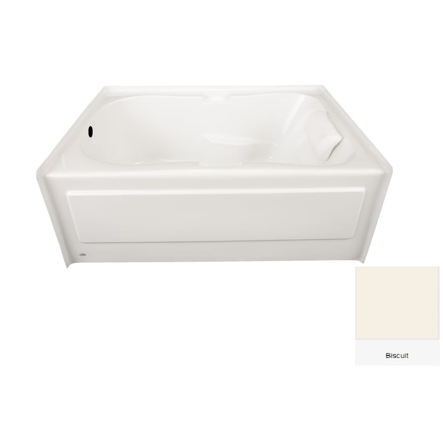 Laurel Mountain Hourglass II Plus 71.75-in Biscuit Acrylic Alcove Bathtub with Left-Hand Drain