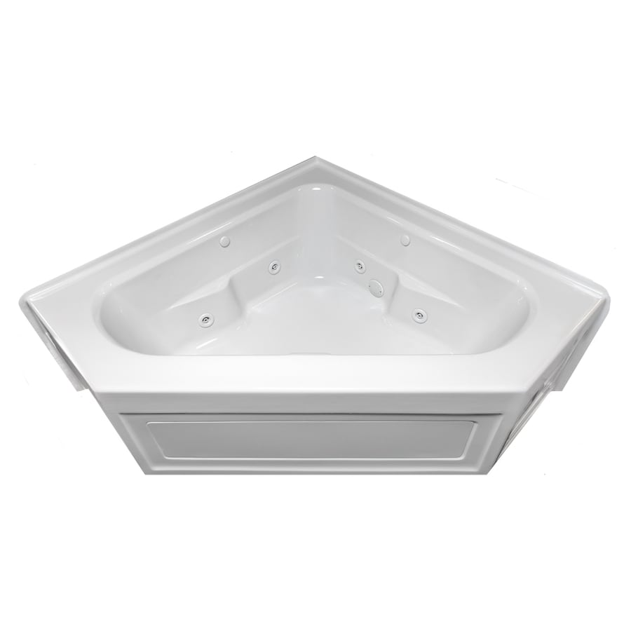 Laurel Mountain Inland 2-Person White Acrylic Corner Whirlpool Tub (Common: 60-in x 60-in; Actual: 22.5-in x 59-in x 59-in)