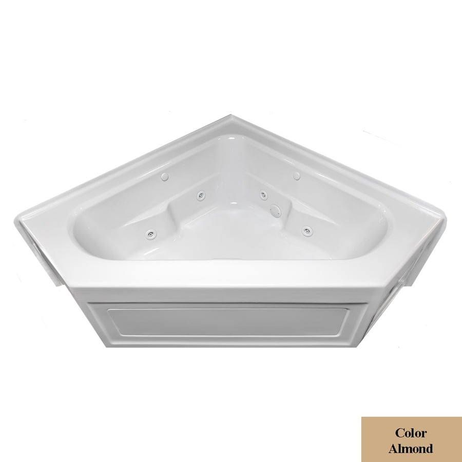 Laurel Mountain Inland 2-Person Almond Acrylic Corner Whirlpool Tub (Common: 60-in x 60-in; Actual: 22.5-in x 59-in x 59-in)