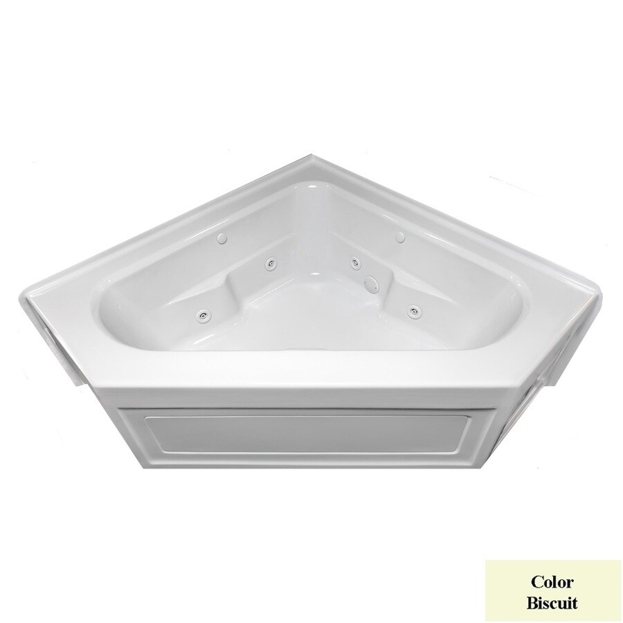 Laurel Mountain Inland 2-Person Biscuit Acrylic Corner Whirlpool Tub (Common: 60-in x 60-in; Actual: 22.5-in x 59-in x 59-in)