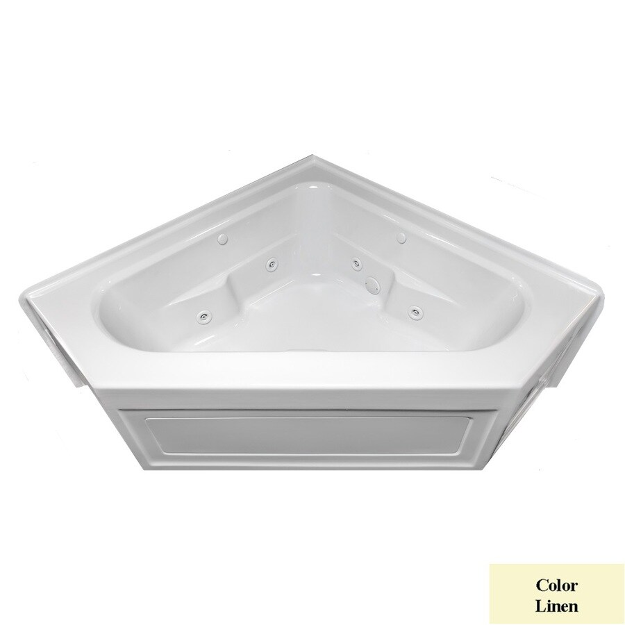 Laurel Mountain Inland 2-Person Linen Acrylic Corner Whirlpool Tub (Common: 60-in x 60-in; Actual: 22.5-in x 59-in x 59-in)
