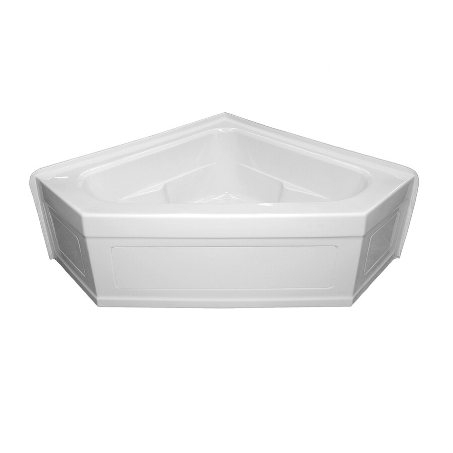 Laurel Mountain Inland 59-in L x 59-in W x 22-in H 2-Person White Acrylic Corner Whirlpool Tub and Air Bath