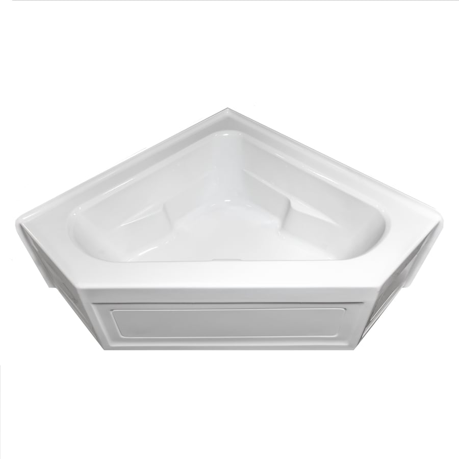 Laurel Mountain Inland White Acrylic Corner Skirted Bathtub with Center Drain (Common: 60-in x 60-in; Actual: 22-in x 59-in x 59-in