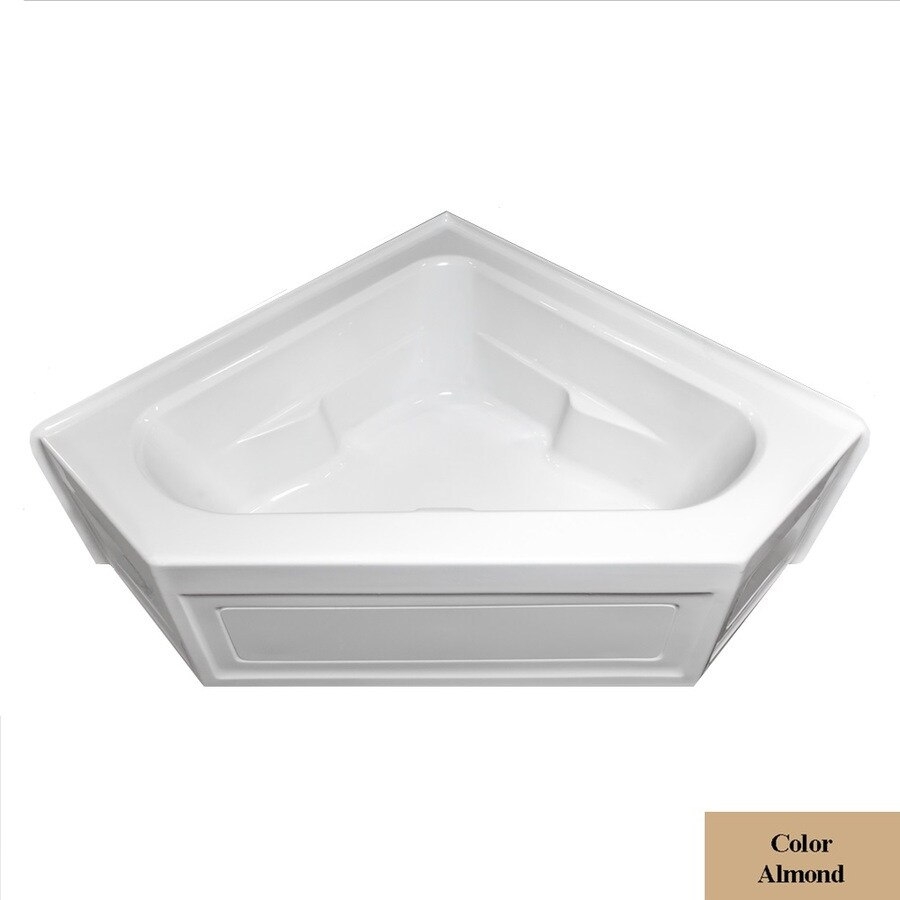 Laurel Mountain Inland Almond Acrylic Corner Skirted Bathtub with Center Drain (Common: 60-in x 60-in; Actual: 22-in x 59-in x 59-in
