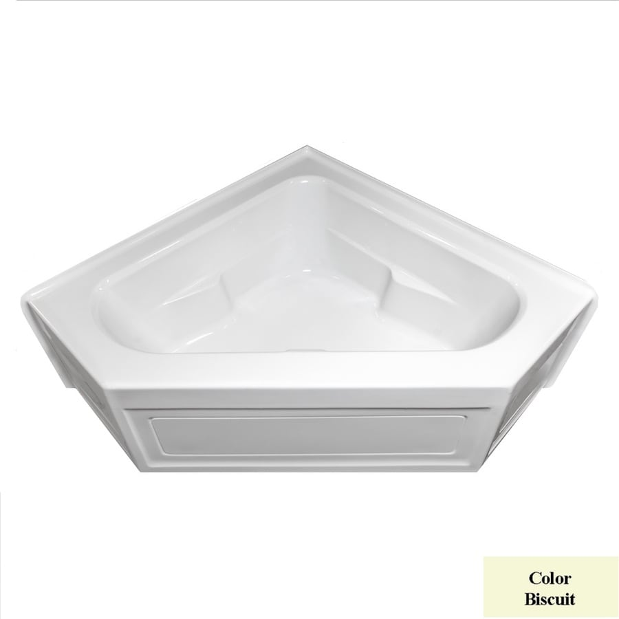 Laurel Mountain Inland Biscuit Acrylic Corner Skirted Bathtub with Center Drain (Common: 60-in x 60-in; Actual: 22-in x 59-in x 59-in