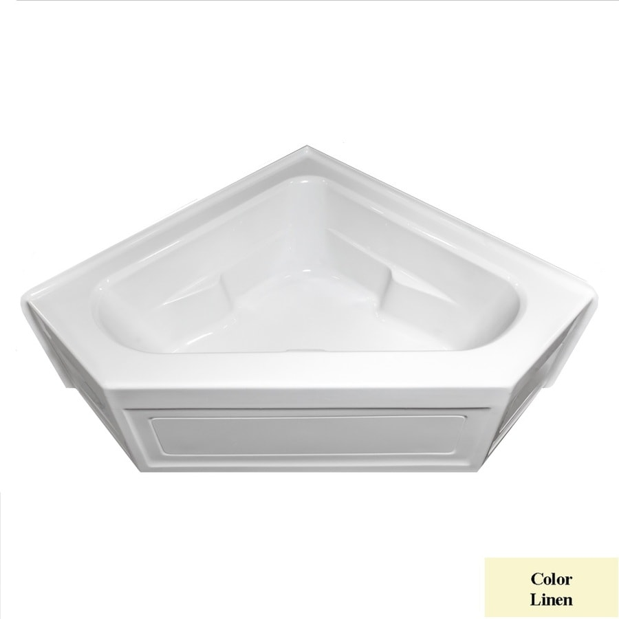 Laurel Mountain Inland Linen Acrylic Corner Skirted Bathtub with Center Drain (Common: 60-in x 60-in; Actual: 22-in x 59-in x 59-in