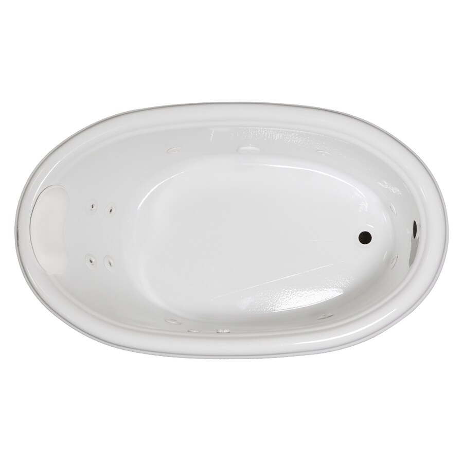 Laurel Mountain Jarrett 60-in White Acrylic Drop-In Whirlpool Tub with Reversible Drain