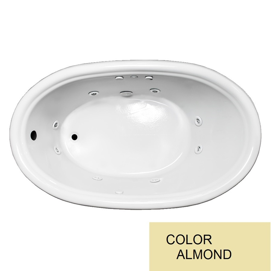 Laurel Mountain Jarrett Almond Acrylic Oval Whirlpool Tub (Common: 36-in x 60-in; Actual: 21.5-in x 36-in x 60-in)