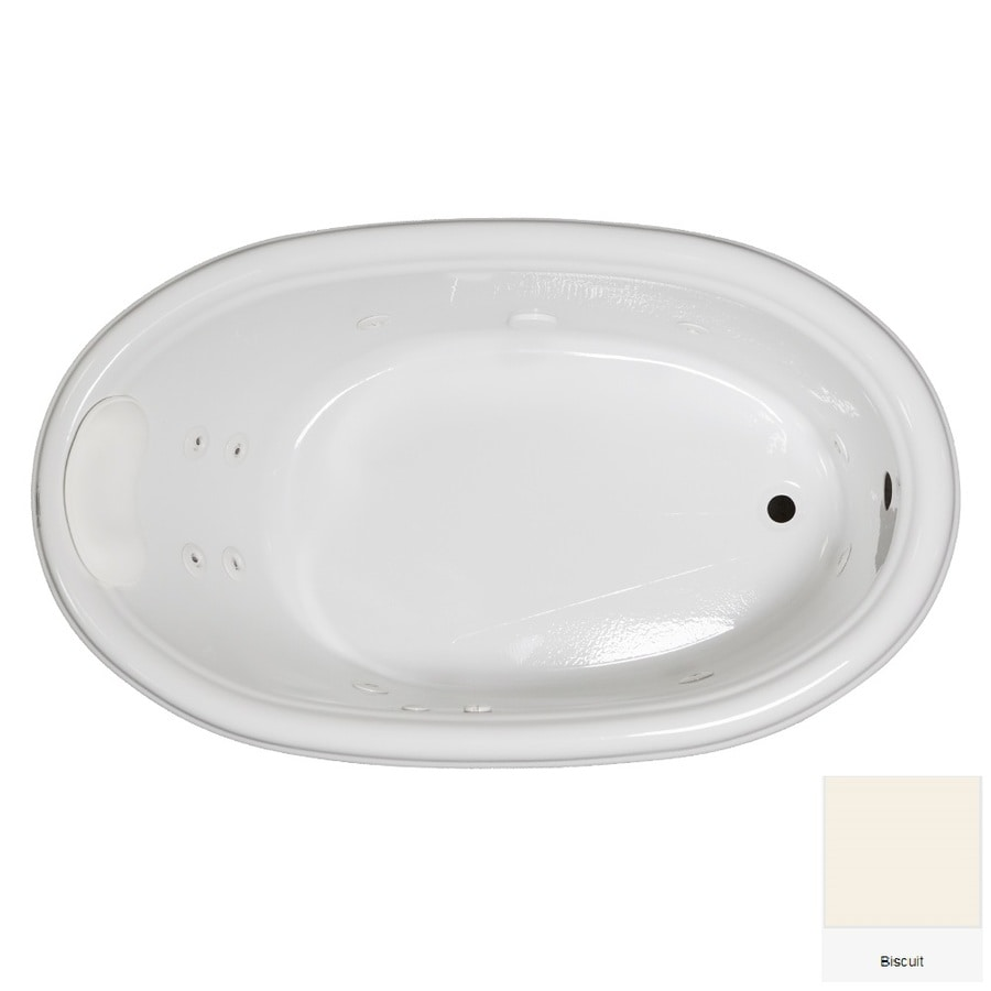 Laurel Mountain Jarrett Biscuit Acrylic Oval Whirlpool Tub (Common: 36-in x 60-in; Actual: 21.5-in x 36-in x 60-in)