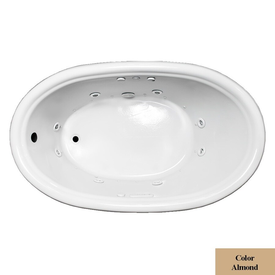 Laurel Mountain Jarrett 60-in L x 36-in W x 21.5-in H Almond Acrylic Oval Whirlpool Tub and Air Bath