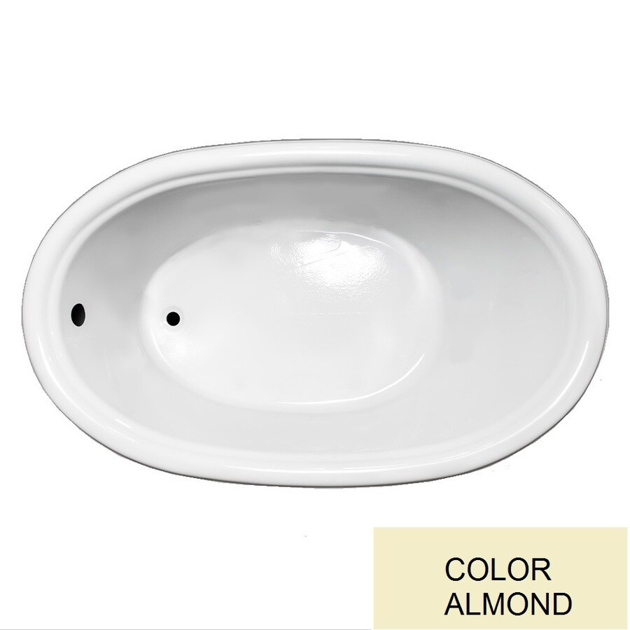 Laurel Mountain Jarrett Almond Acrylic Oval Drop-in Bathtub with Reversible Drain (Common: 36-in x 60-in; Actual: 21.5-in x 36-in x 60-in