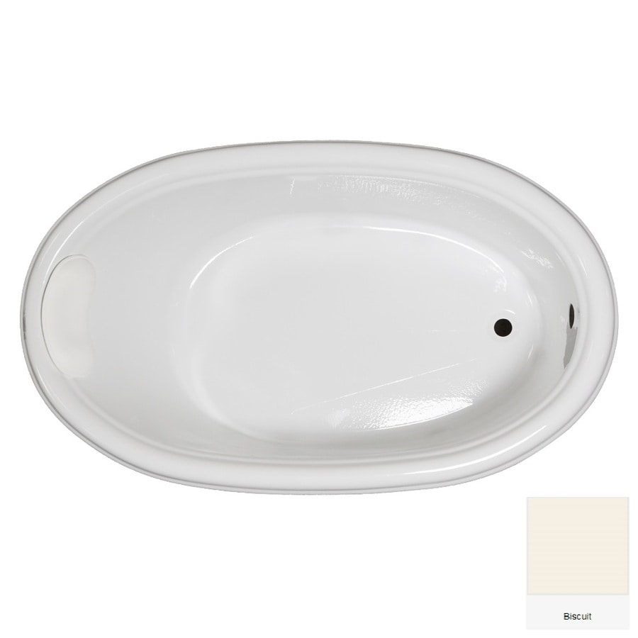 Laurel Mountain Jarrett Biscuit Acrylic Oval Drop-in Bathtub with Reversible Drain (Common: 36-in x 60-in; Actual: 21.5-in x 36-in x 60-in