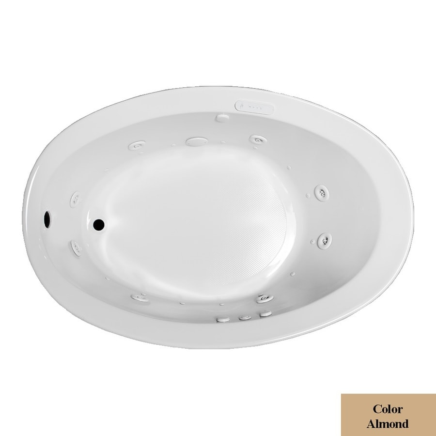 Laurel Mountain Jewel 56-in L x 38-in W x 22.5-in H Almond Acrylic Oval Whirlpool Tub and Air Bath
