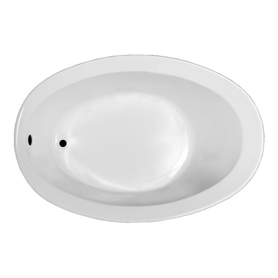 Laurel Mountain Jewel White Acrylic Oval Drop-in Bathtub with Reversible Drain (Common: 38-in x 59-in; Actual: 22.5-in x 38-in x 56-in