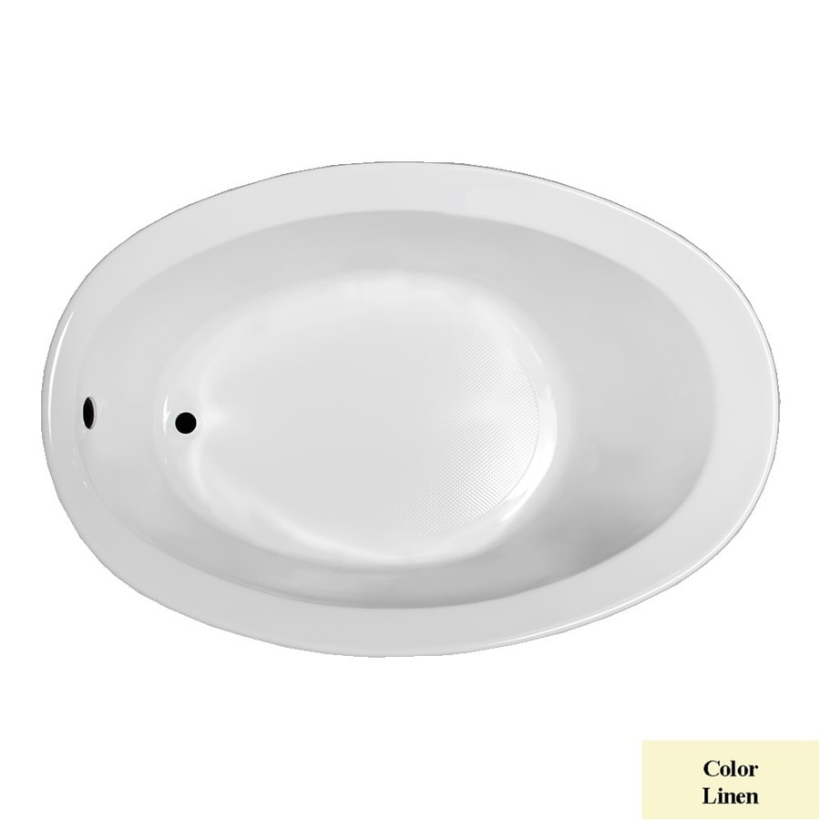 Laurel Mountain Jewel Linen Acrylic Oval Drop-in Bathtub with Reversible Drain (Common: 38-in x 59-in; Actual: 22.5-in x 38-in x 56-in