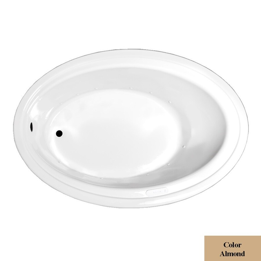Laurel Mountain Kirby 60-in L x 41-in W x 19-in H Almond Acrylic Oval Drop-in Air Bath