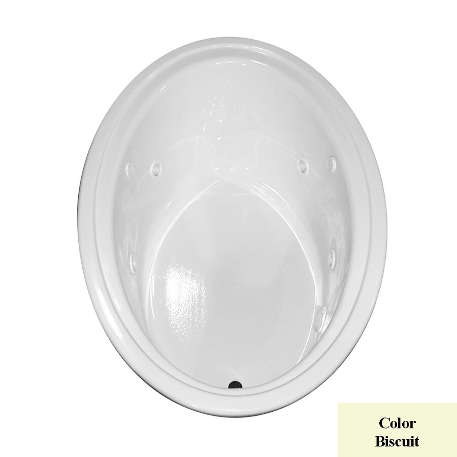 Laurel Mountain Kirby 60-in L x 41-in W x 19-in H 1-Person Biscuit Acrylic Oval Whirlpool Tub and Air Bath