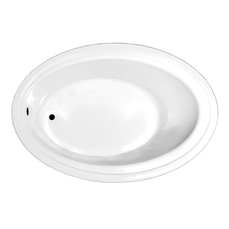 Laurel Mountain Kirby White Acrylic Oval Drop-in Bathtub with Reversible Drain (Common: 41-in x 60-in; Actual: 19-in x 41-in x 60-in