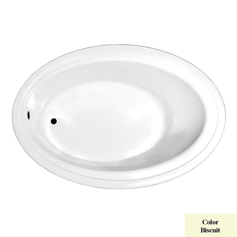 Laurel Mountain Kirby Biscuit Acrylic Oval Drop-in Bathtub with Reversible Drain (Common: 41-in x 60-in; Actual: 19-in x 41-in x 60-in