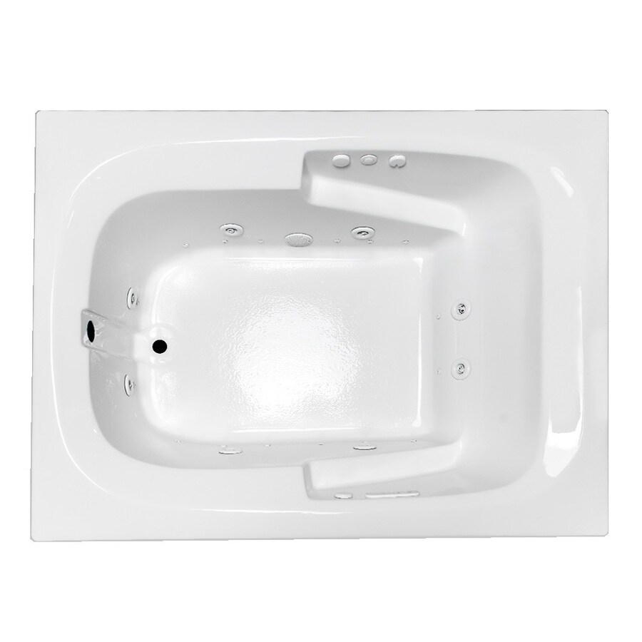 Laurel Mountain Large I Plus 59.5-in L x 47.5-in W x 23-in H 1-Person White Acrylic Rectangular Whirlpool Tub and Air Bath