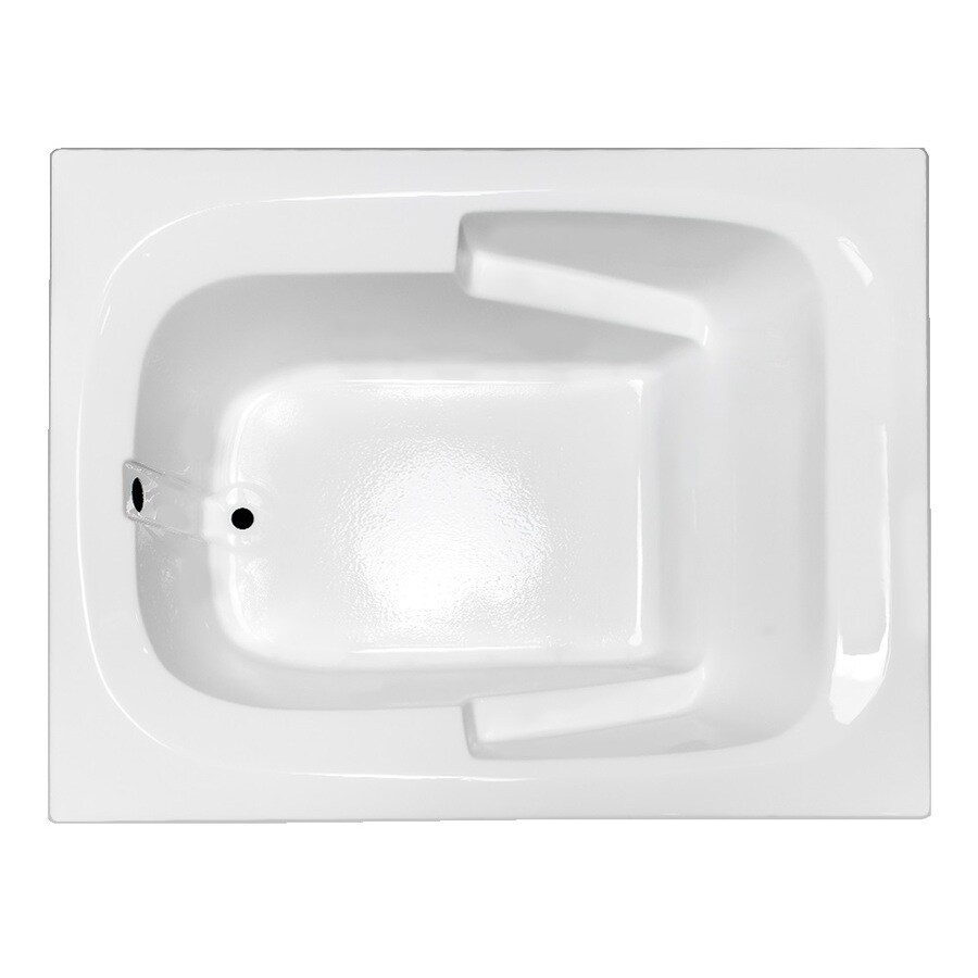 Laurel Mountain Large I Plus White Acrylic Rectangular Drop-in Bathtub with Reversible Drain (Common: 48-in x 60-in; Actual: 23-in x 47.5-in x 59.5-in