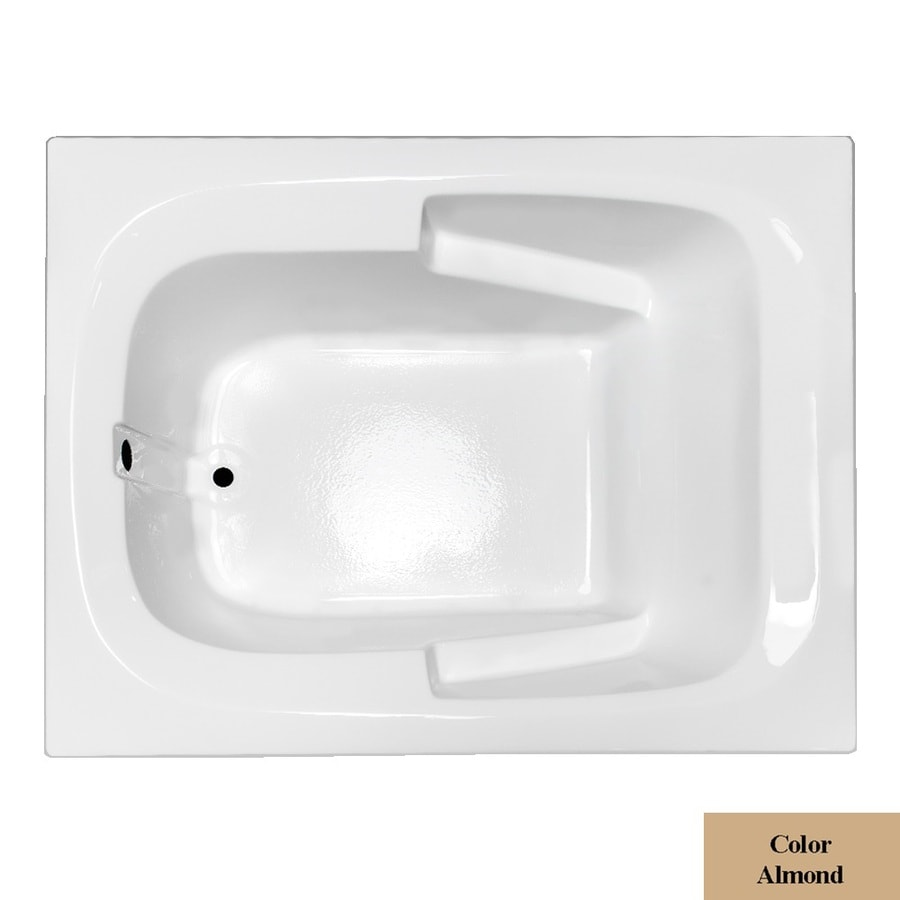 Laurel Mountain Large I Plus Almond Acrylic Rectangular Drop-in Bathtub with Reversible Drain (Common: 48-in x 60-in; Actual: 23-in x 47.5-in x 59.5-in