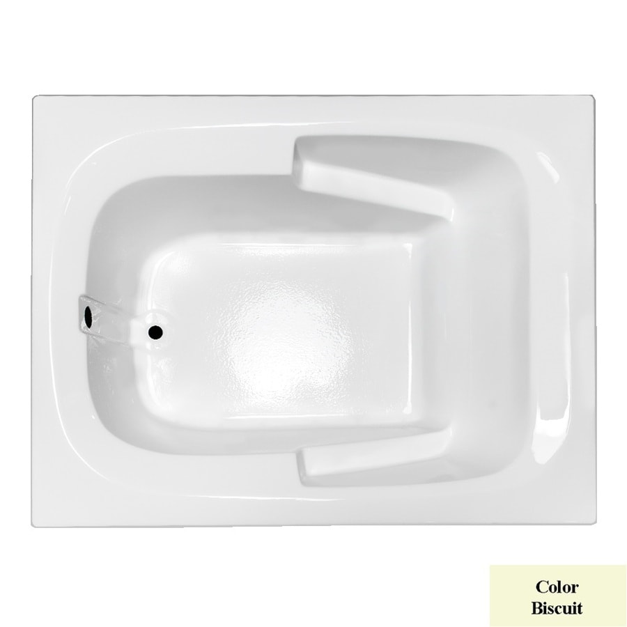 Laurel Mountain Large I Plus Biscuit Acrylic Rectangular Drop-in Bathtub with Reversible Drain (Common: 48-in x 60-in; Actual: 23-in x 47.5-in x 59.5-in