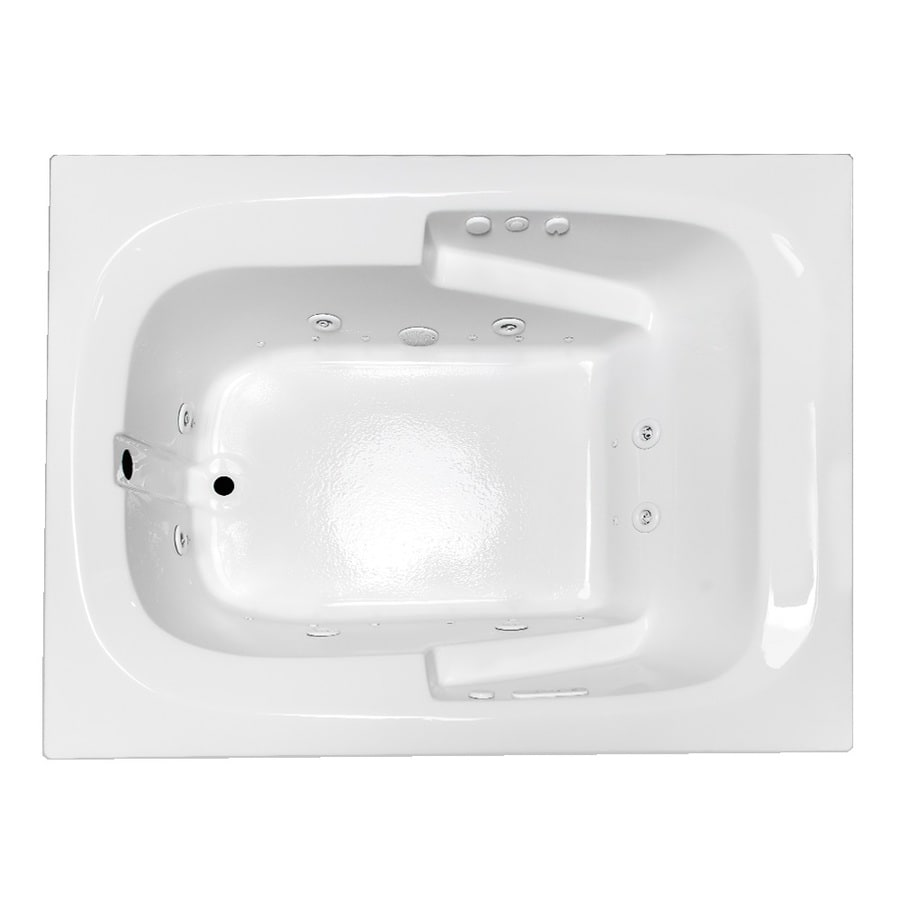 Laurel Mountain Large II Plus 71.75-in L x 47.5-in W x 23-in H 1-Person White Acrylic Rectangular Whirlpool Tub and Air Bath