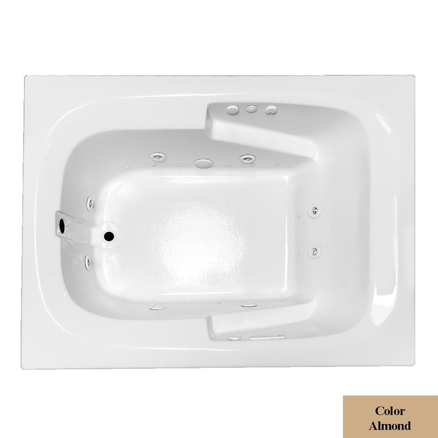 Laurel Mountain Large II Plus 71.75-in L x 47.5-in W x 23-in H 1-Person Almond Acrylic Rectangular Whirlpool Tub and Air Bath