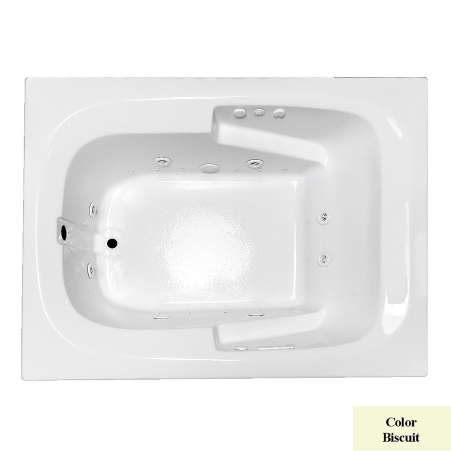 Laurel Mountain Large II Plus 71.75-in L x 47.5-in W x 23-in H Biscuit Acrylic Rectangular Whirlpool Tub and Air Bath