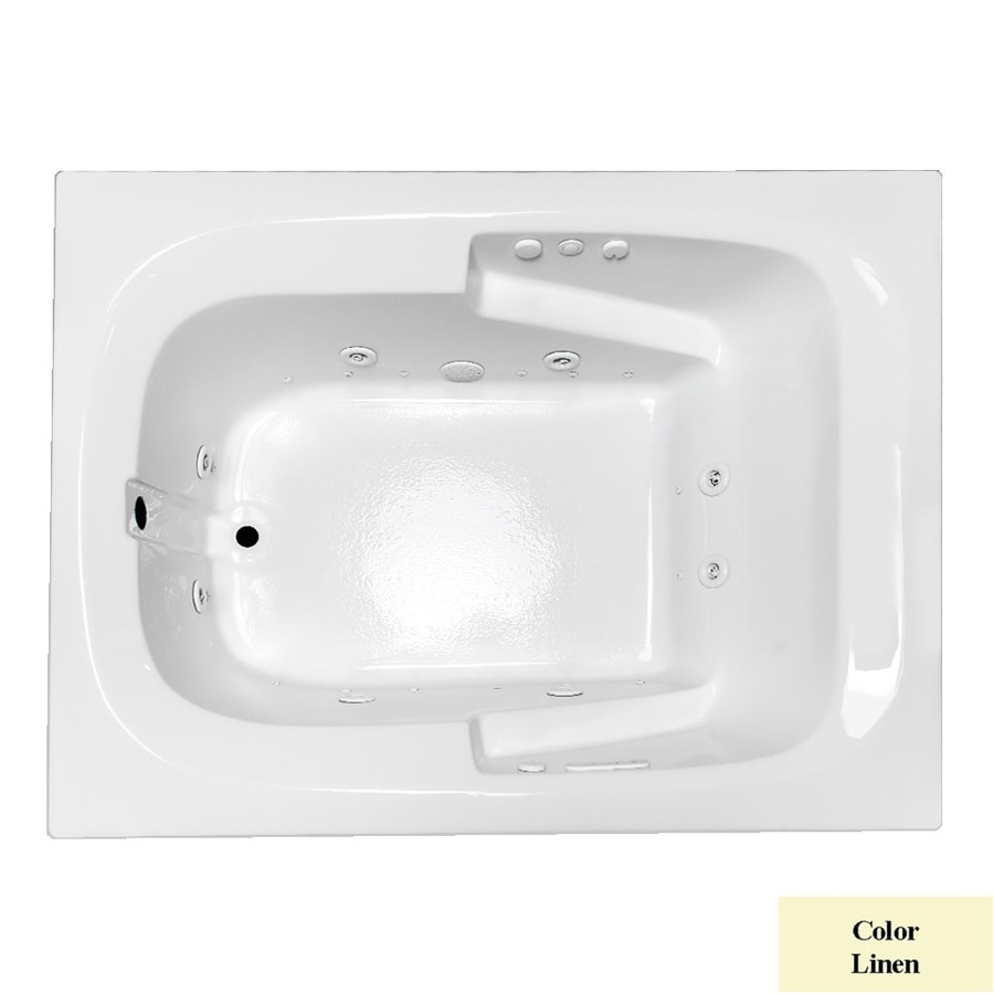 Laurel Mountain Large II Plus 71.75-in L x 47.5-in W x 23-in H Linen Acrylic Rectangular Whirlpool Tub and Air Bath