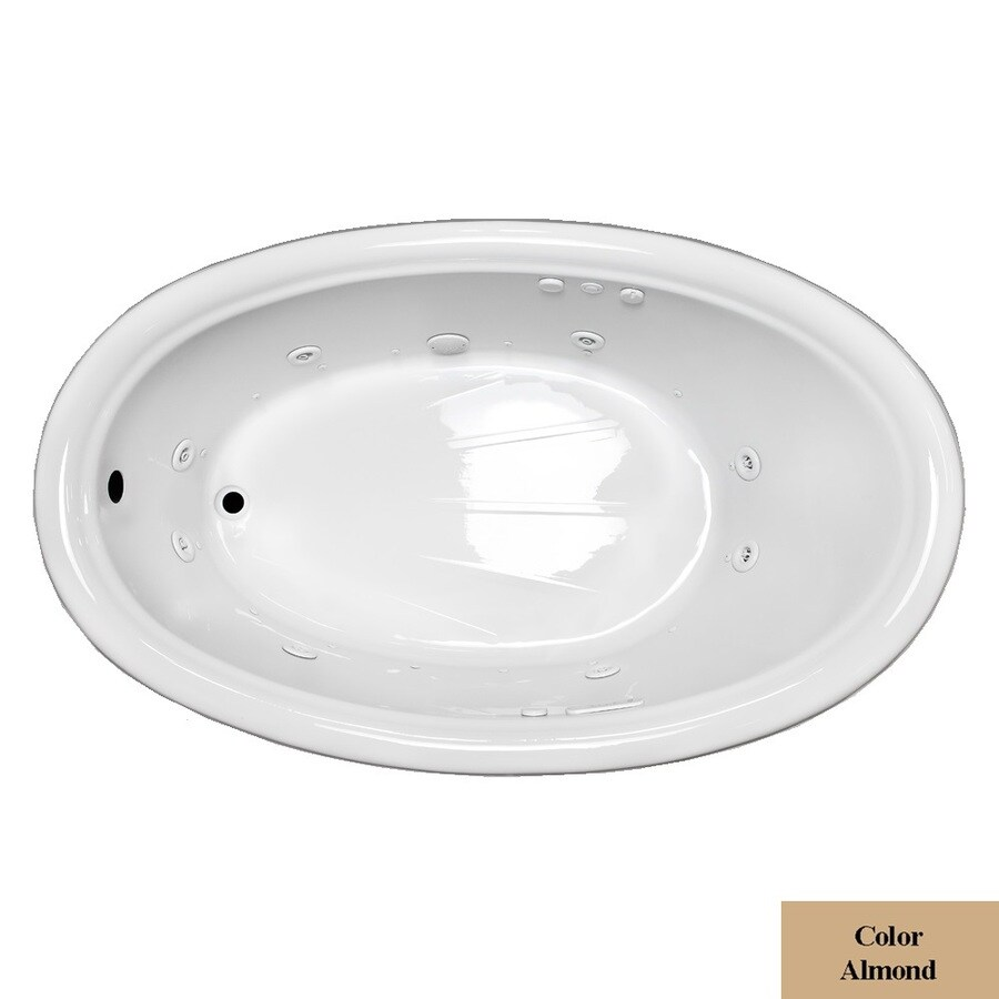 Laurel Mountain Leah 69.5-in L x 41.75-in W x 21.5-in H 1-Person Almond Acrylic Oval Whirlpool Tub and Air Bath