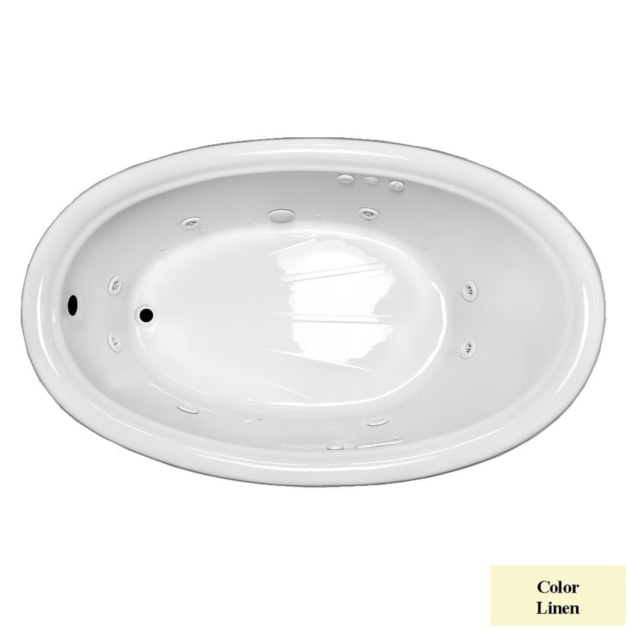 Laurel Mountain Leah 69.5-in L x 41.75-in W x 21.5-in H 1-Person Linen Acrylic Oval Whirlpool Tub and Air Bath