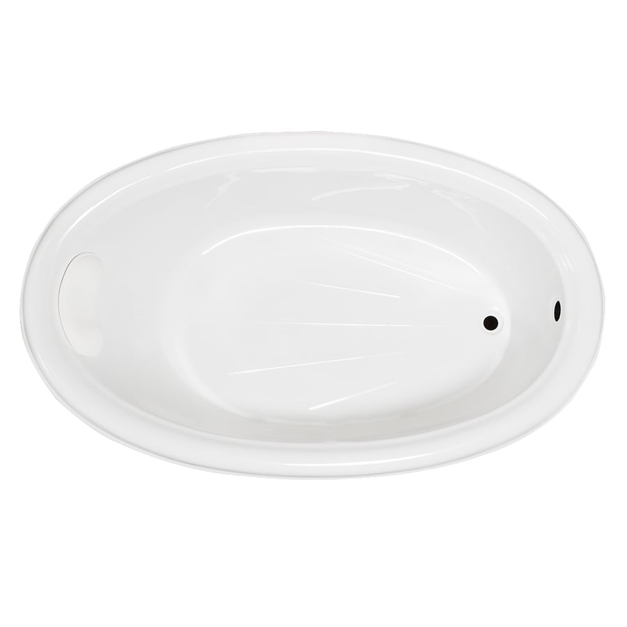 Laurel Mountain Leah White Acrylic Oval Drop-in Bathtub with Reversible Drain (Common: 42-in x 70-in; Actual: 21.5-in x 41.75-in x 69.5-in