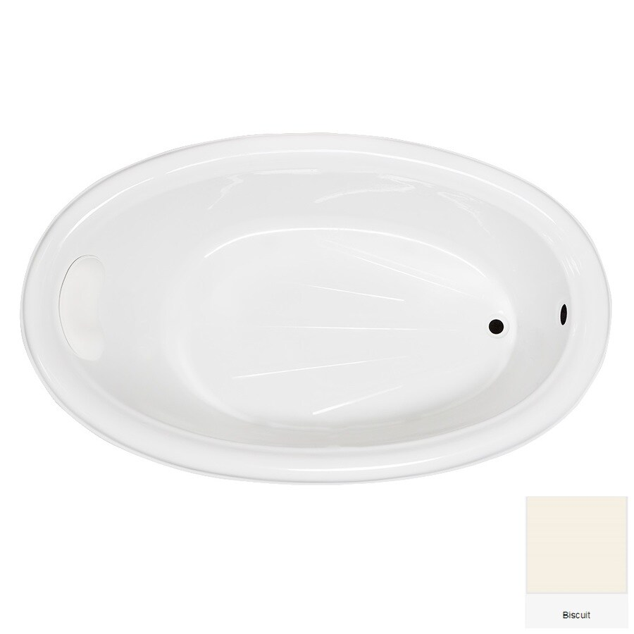 Laurel Mountain Leah Biscuit Acrylic Oval Drop-in Bathtub with Reversible Drain (Common: 42-in x 70-in; Actual: 21.5-in x 41.75-in x 69.5-in