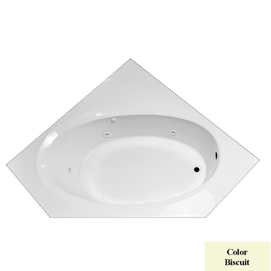 Laurel Mountain Vandale Biscuit Acrylic Corner Whirlpool Tub (Common: 60-in x 60-in; Actual: 25.25-in x 59.25-in x 59.25-in)