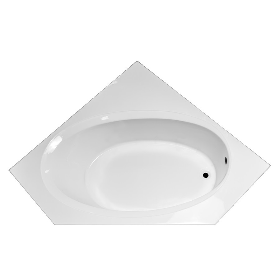 Laurel Mountain Vandale White Acrylic Corner Drop-in Bathtub with Right-Hand Drain (Common: 60-in x 60-in; Actual: 25.25-in x 59.25-in x 59.25-in
