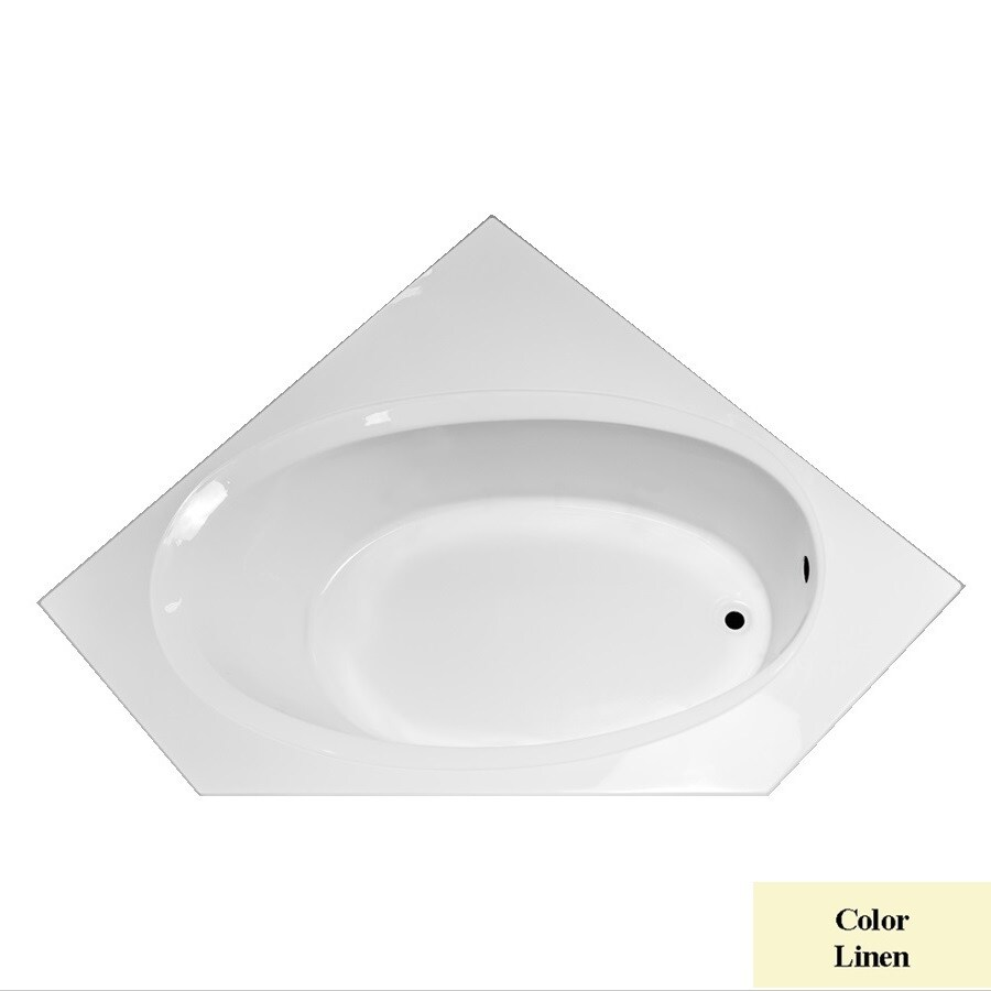 Laurel Mountain Vandale Linen Acrylic Corner Drop-in Bathtub with Right-Hand Drain (Common: 60-in x 60-in; Actual: 25.25-in x 59.25-in x 59.25-in