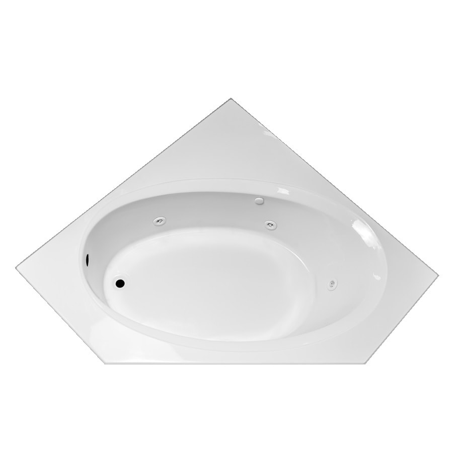 Laurel Mountain Vandale White Acrylic Corner Whirlpool Tub (Common: 60-in x 60-in; Actual: 25.25-in x 59.25-in x 59.25-in)