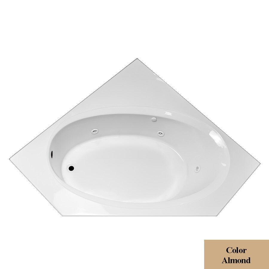 Laurel Mountain Vandale Almond Acrylic Corner Whirlpool Tub (Common: 60-in x 60-in; Actual: 25.25-in x 59.25-in x 59.25-in)