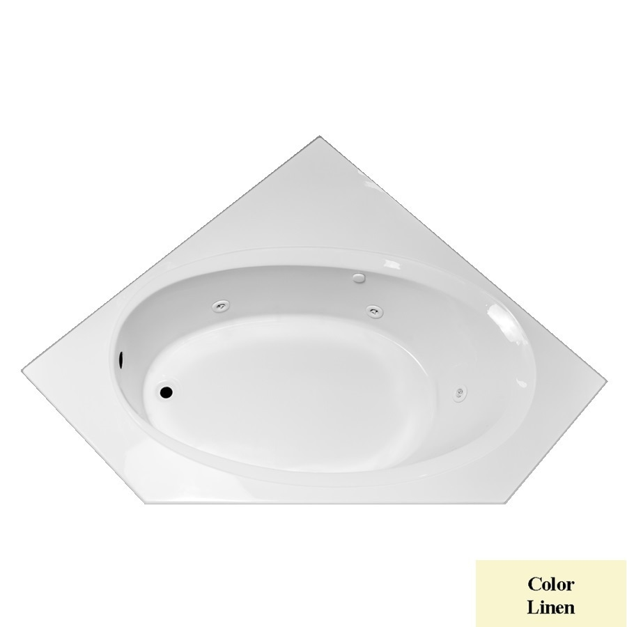 Laurel Mountain Vandale Linen Acrylic Corner Whirlpool Tub (Common: 60-in x 60-in; Actual: 25.25-in x 59.25-in x 59.25-in)