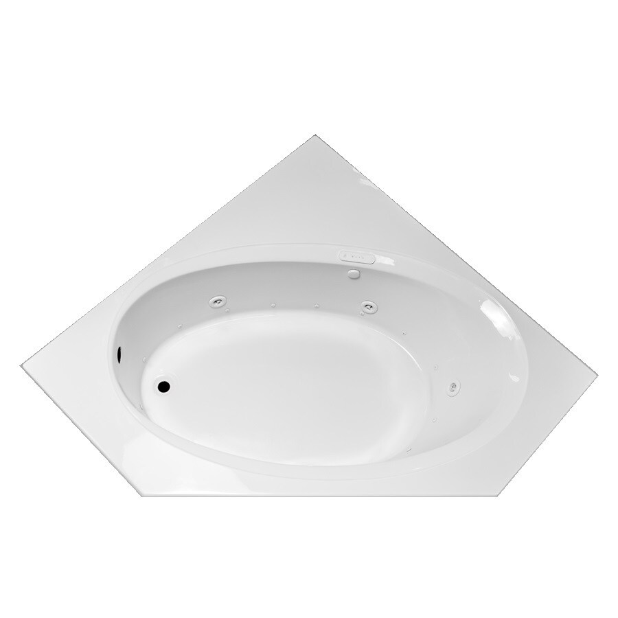 Laurel Mountain Vandale 59.25-in L x 59.25-in W x 25.25-in H White Acrylic Corner Whirlpool Tub and Air Bath