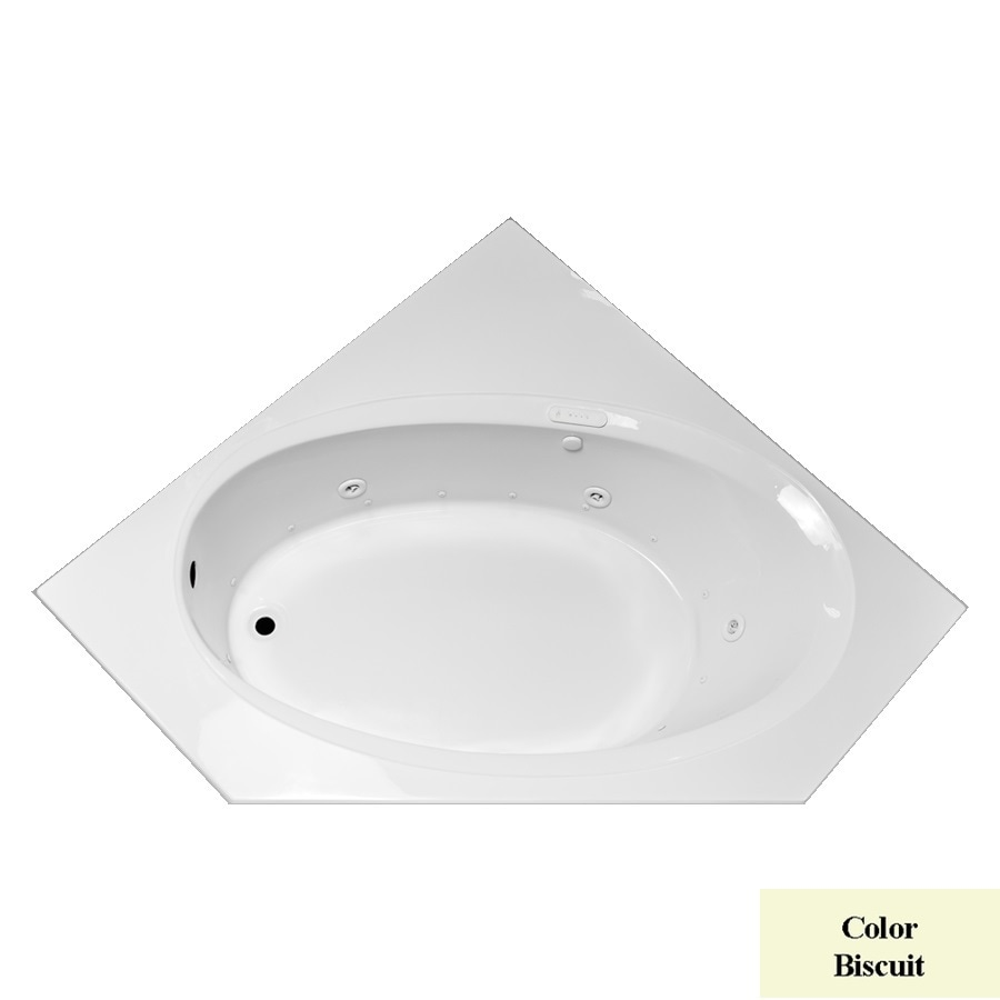 Laurel Mountain Vandale 59.25-in L x 59.25-in W x 25.25-in H Biscuit Acrylic Corner Whirlpool Tub and Air Bath