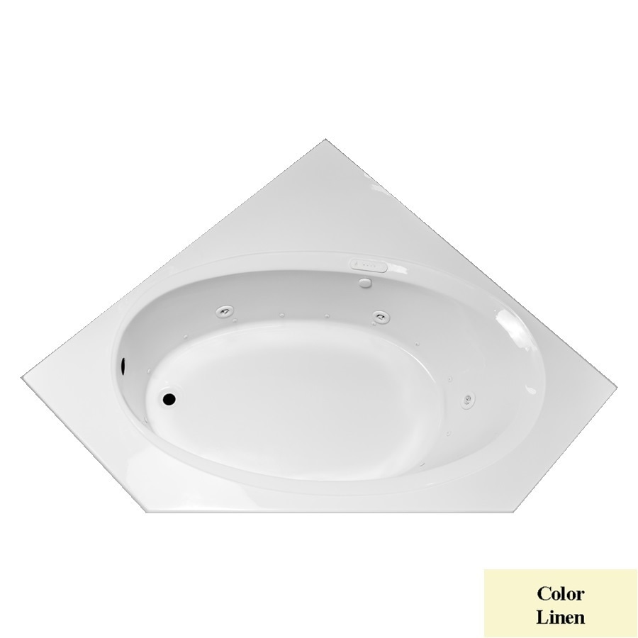 Laurel Mountain Vandale 59.25-in L x 59.25-in W x 25.25-in H Linen Acrylic Corner Whirlpool Tub and Air Bath